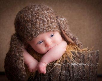 SALE Brown Fuzzy Floppy Eared Bunny, 0-3 Month crochet hat, photography prop