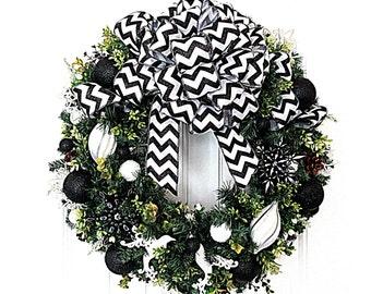 Christmas Wreath  - Black and White Christmas Wreath - Artificial Pine Wreath  - Ready to Ship Wreath