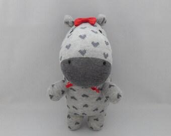 Hippo Plush Toy, Hippopotamus Plush, Plushie , Stuffed Animal, Sock Monkey