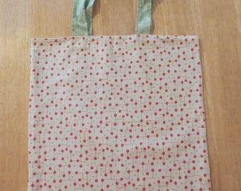 Cotton Grocery Tote, Red and Green Retro