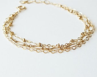 ON SALE Layering Bracelet - Gold Filled and Sterling Chain Bracelet - Triple Strand Bracelet - Everyday Bracelet - Mixed Metal Bracelet