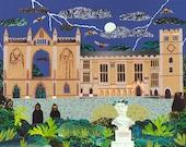 Lord Byron, Greeting Card, Haunted, Newstead Abbey, Creepy, English Romantics, Byron, Collage, Naive Art, Art Card