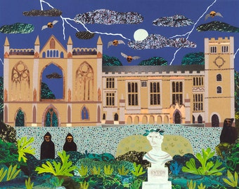 Lord Byron, Greeting Card, Haunted, Newstead Abbey, Creepy, English Romantics, Byron, Collage, Naive Art, Art Card