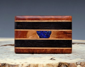 Exotic Wood and Lapis Inlaid Belt Buckle - Handmade