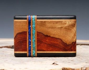 Exotic Wood, Lapis and Turquoise Inlaid Belt Buckle - Handmade