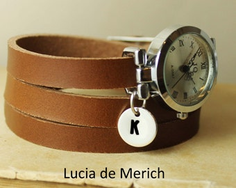 Leather watch, three laps wrist watch, vintage initial watch, Personalized watch- Gift