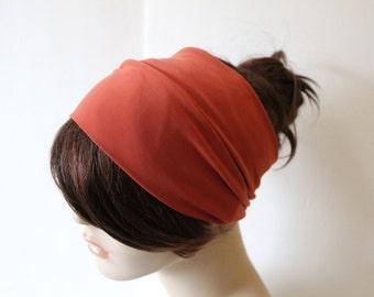 Terracotta Sienna Turban Head Wrap, Workout Headband, Women's Yoga Headband, Turband Womens Gift for Her Hair Accessories