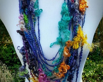 Indigo Rainbow Statement Necklace, Infinity Shawl, Layered Multi Strand Necklace, Hippie Lockspun Art Yarn Necklace, Bohemian Eco Fashion