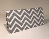 Fabric Checkbook Cover-Gray and White Chevron Zig Zag Stripe with Gray Interior