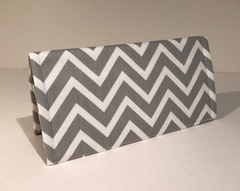 Fabric Checkbook Cover-Gray and White Chevron Zig Zag Stripe with Gray Interior