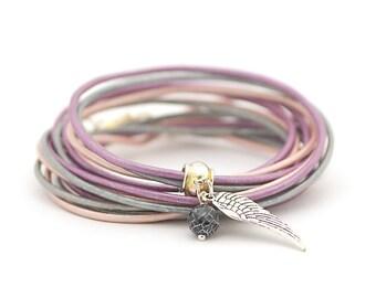 Cream Purple Silver Wrap Bracelet, Angel Charm Bracelet, Minimalist Jewelry, Personalized Charm, Christmas gift for her
