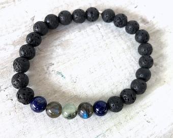 SALE: menz ZEN Lava Love Aromatherapy Bracelet - Lapis Lazuli, Labradorite, Prehnite