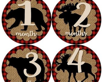SALE Baby Monthly Milestone Growth Stickers Red Black Buffalo Plaid Burlap Bear Moose Rustic Lumberjack Woodland MS943 Shower Gift  Photo