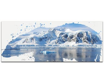 Animal Silhouette 'Polar Bear Arctic' by Adam Schwoeppe - Landscape Photography Glacial Cliffs Art on White Metal