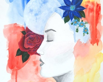 12x18 Mixed Media Painting-Woman with Moon and Flowers-Watercolor and Graphite on Paper