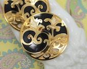 """Vintage EDGAR BEREBI Pierced Earrings - Gold Plated Pierced Metal - Black & Cream Enamel - Pierced Post Earrings  - 1  7/8"""" across"""