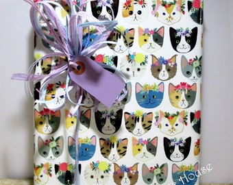 Cat Gift Wrap, Kitty Cat Wrapping Paper, Paper Table Runner, 10 feet long x 24 inches wide