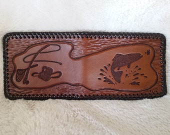 Leather Hand Tooled Leather Wallet in an Inverted Trout Fishing Scene