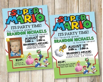 Super Mario Birthday Party Printable Invitation with Photo Option