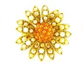 RESERVED Please Do NOT Purchase unless YOU Reserved! Thank You! Vintage Brooch Multi Tier Sunflower Coral Pearl Rhinestones