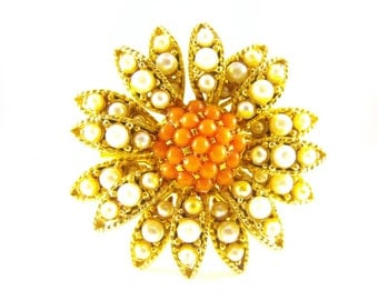 Vintage Brooch Multi Tier Sunflower Coral Pearl Rhinestones Antique Gold Tone Metals
