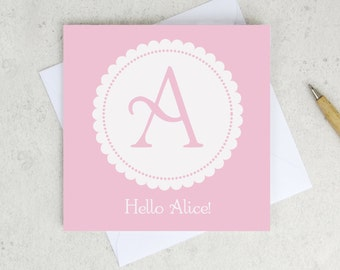 New Baby monogram Card - personalised new baby card - birth congrats - card for baby - personalized birth card - wink design - uk
