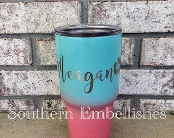 Ombre Stainless Steel Cup with Name and Flower