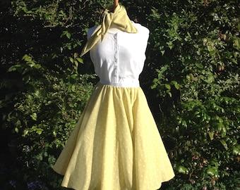 1950s style polka dot circle skirt size 10 to 12 - Spot circle skirt - Full Circle Skirt - Handmade skirt - Midi Skirt - Rockabilly Skirt