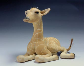 Giraffe, at rest, Porcelain Giraffe Sculpture