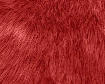 Fun Monkey Fur Fire Red 60 Inches Fabric by the Yard, 1 yard