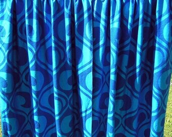 Vintage Pair of Mod Curtains in aqua and royal blue, Retro 1970s Woven Geometric Curtains, Mid Century Long Thick Pantone Drapes, Germany