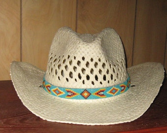 Turquoise Background Beaded Hatband / Native American Hatband, South Western Hatband,  Cowboy Hat Band with Leather Backing   1 of a Kind
