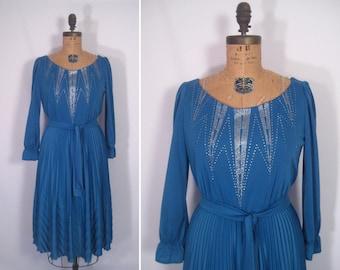 1970s azure chevron pleated party dress • 70s blue metallic disco dress • vintage undying love dress