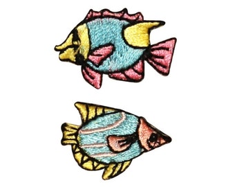 ID 0270AB Set of 2 Mini Cartoon Tropical Fish Patch Embroidered Iron On Applique