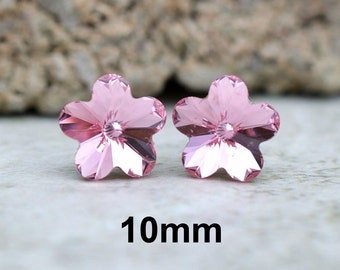 Light Rose Flower Studs, Pink Flower Studs, Rhinestone Earrings, Rose Flower Crystal Studs, Pink Rhinestone studs, Swarovski, 10mm earrings