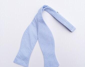 Men and Teen's Baby Blue Seersucker Bow Tie