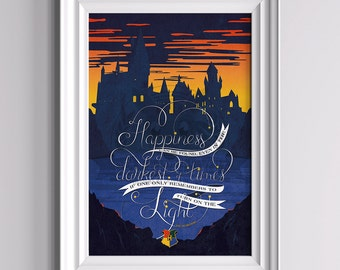 Happiness - Harry Potter Inspired Poster ||| typography hogwarts albus dumbledore gryffindor slytherin hufflepuff ravenclaw nursery quote