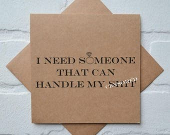 Handle my Sh#t EVENT COORDINATOR card someone to handle my shit funny personal attendant funny proposal card funny wedding planner card