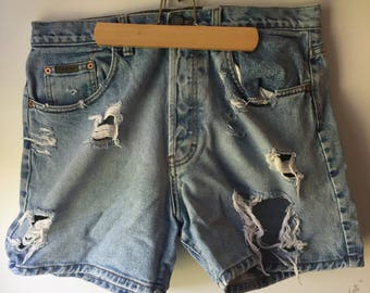 Vintage Distressed Denim Jean Shorts Calvin Klein Button Fly High Waisted Mom Jeans Size 13 1990s 90s