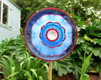 Glass Plate Flower - Re-Purposed Glass Flower Garden Art - Hand Painted Red, White & Blue - Garden Stake - Yard Art - Garden Decor