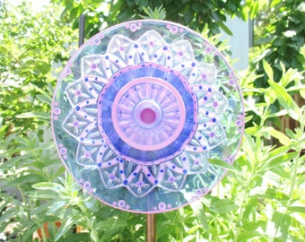 Spring Celebration Outdoor Garden Decoration, Cobalt & Magenta, garden art, garden sculpture, glass plate flower, garden gift