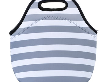 Neoprene Gray and White Stripes Lunch Tote Bag- Insulated lunch box for women, girls, kids
