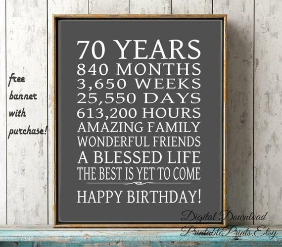70th Birthday Sign Dad Gift FREE PRINTABLE 70 Year Birthday