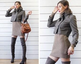 Vintage beige brown plaid wool double breasted cropped coat blazer jacket S