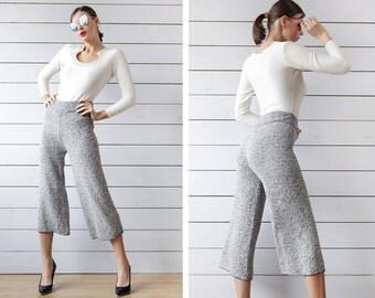 Vintage navy blue white melange knit high waist wide leg cropped palazzo short capris culottes pants M