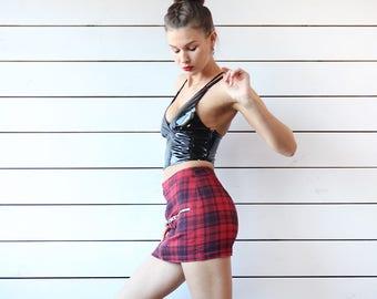 Vintage red black tartan plaid extra short sexy mini skirt XS