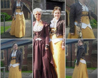 Steampunk Basic Under Bust Corset, Harness and Full Skirt