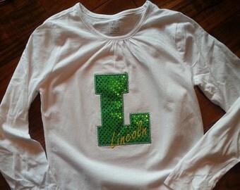 Lincoln Lions Spirit Shirt - Lincoln Varsity L - Sequins or Chevron