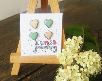 Tiny-Tiny Glow Stud Earrings, Studs Set, Glow in Dark Studs, Mint studs, Mint hearts, Heart earrings, Luminescent studs, Halloween earrings