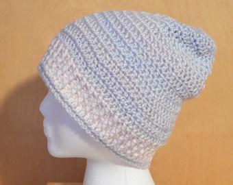 Adult Hat, Crochet Hat, Pastels and Iced Violet Hat, Adult Large